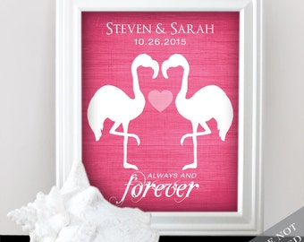 Flamingo Love - Custom Wedding Name Date Print - Personalized Wedding Gift - Bridal Shower Gift - Engagement Present - Unframed
