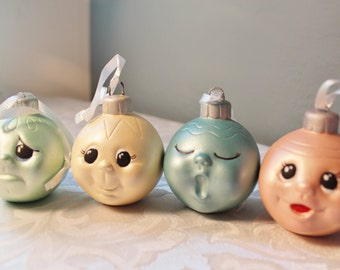 Ceramic Baby Face Christmas Ornaments