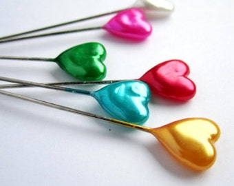 30 cute pearly multicoloured heart pins for dressmaking sewing millinery