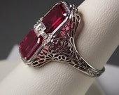 SOLD 0n layaway -Vintage Ruby and Diamond Filigree Ring 3.22Ctw White Gold 14K 3.7gm Size 7.75