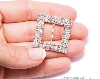 30pcs Rhinestone Buckles, Cake Decor Buckle Wedding Card Ribbon Slider Buckles Invitation Bling Swarovski Crystal, Buckle 302-S