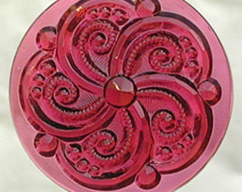 Swirly Rose (Gold-Pink) Stained Glass Jewel 35mm