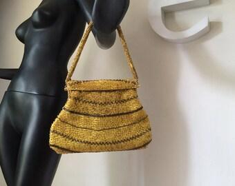 Vintage 1950s Beaded Purse Art Deco 30s - 50s Rockabilly Swing Dance Handbag Gold Yellow Brown Seed Beads & Bugle Beads Embellished Purse