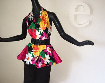 Vintage 80s Peplum Dress 1980s Party Halter Look Sexy Cut Out Back Pencil Skirt Black Multi Mod Flower Floral Flowered Medium Large Size 12