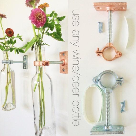 HARDWARE ONLY - 9 Wine Bottle Wall Flower Vase Kits - copper, silver or iron hardware - DIY - hostess gift