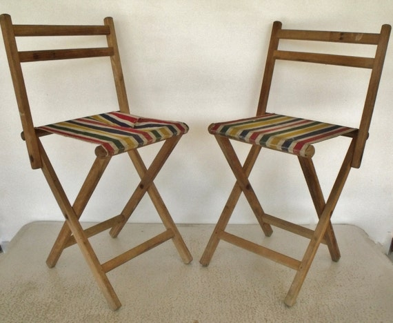 Folding Chair Stool Vintage Camping Chairs Canvas Wood Set