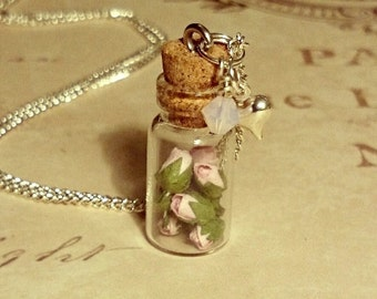 Pink Roses Bottle Necklace Miniature Glass Pendant Pink Rose Bud Jewellery