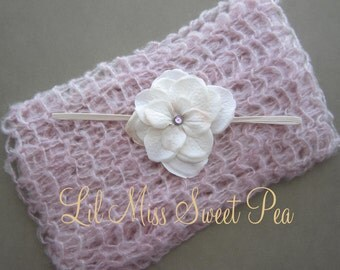 Pink Mohair Baby Wrap AND / OR Flower Headband for newborns for photo shoots