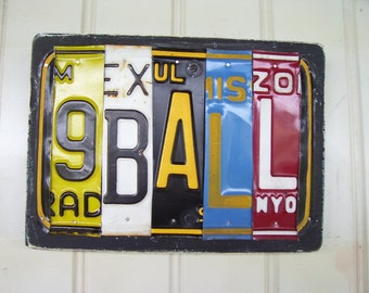 9 BALL License Plate Sign
