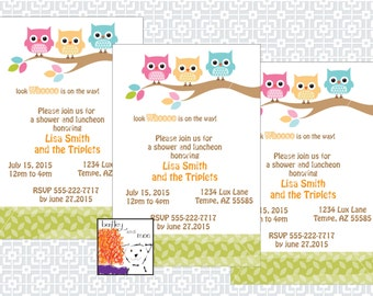 Printable Baby Shower Invitation - Triplets - Owls on a branch/pink/blue/orange