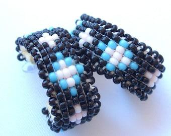 Vintage Native American Beadwork Earrings Cherokee Creek Frances Golden Hawk Neely