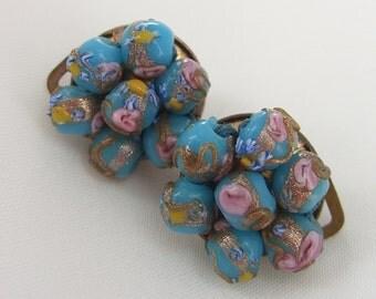 Vintage Italy Earrings Wedding Cake Beads 1950s Murano Venetian Clip Backs Pink Roses