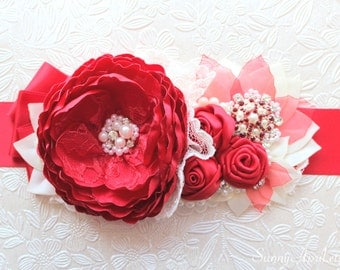 Bridal Red Sash/ Wedding Flower Ribbon Sash/ Handmade Accessory