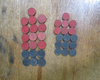 35 Vintage Wooden Checkers. Large and Small Checkers. Red and Black Checkers. Upcycling, Mixed Media, Altered art