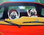 "Pug Art Print of an original oil painting-""Road Rage""- 11 x 14 - Dog art"