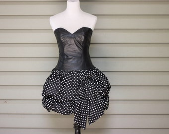 1980s polka dot prom or party dress with sexy leather top. Size small/XS