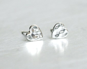 Oxidized Silver Hammered Heart Nugget Studs Earrings