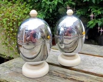 Retro Egg Cosies, Mid Century Chrome & Bakelite Pair Kosy Kraft Insulated Domed Lidded Boiled Egg Warmers Kitchenalia 1950s