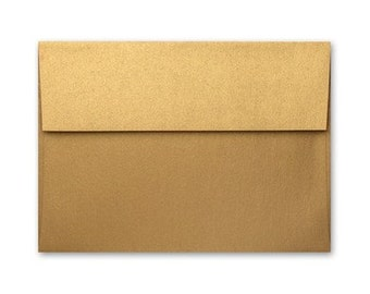 A7 Envelopes - Stardream Metallic Antique Gold with Square Flap FREE SHIPPING
