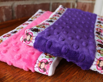 Set of 2 Matching Burp Cloths with Dimple Dot Minky and Princess Ribbon edging - Great for a Baby Shower or New Baby