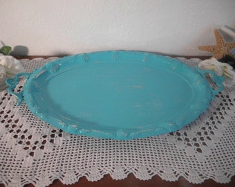 Turquoise Blue Serving Tray Ornate Shabby Chic Beach Cottage Coastal Seaside Tropical Island Nautical Home Decor Summer Sea Wedding Gift Her