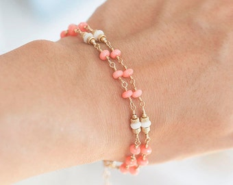 Pink Coral Bracelet, Wedding Bracelet, White Coral Bracelet,  Pink and White Bridal Jewelry, Romantic Weddings, March Birthstone Jewelry
