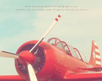 Aviation Photography, Red Airplane Art, Red Plane Photo, Red Propeller, Propeller Plane, Boy's Room Decor, Gift For Pilot, Airplane Print
