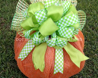 Table Top Lighted Mesh Pumpkin Wreath