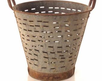Antique Metal Olive Basket