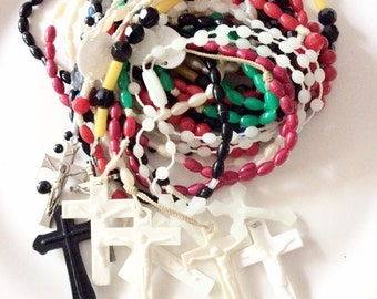 vintage rosary lot assorted colors religious necklaces with crosses 10 pieces lot P16