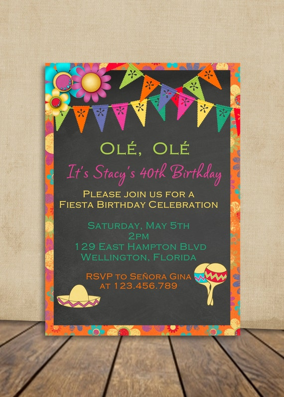 fiesta birthday invitation mexican fiesta party invite, Birthday invitations