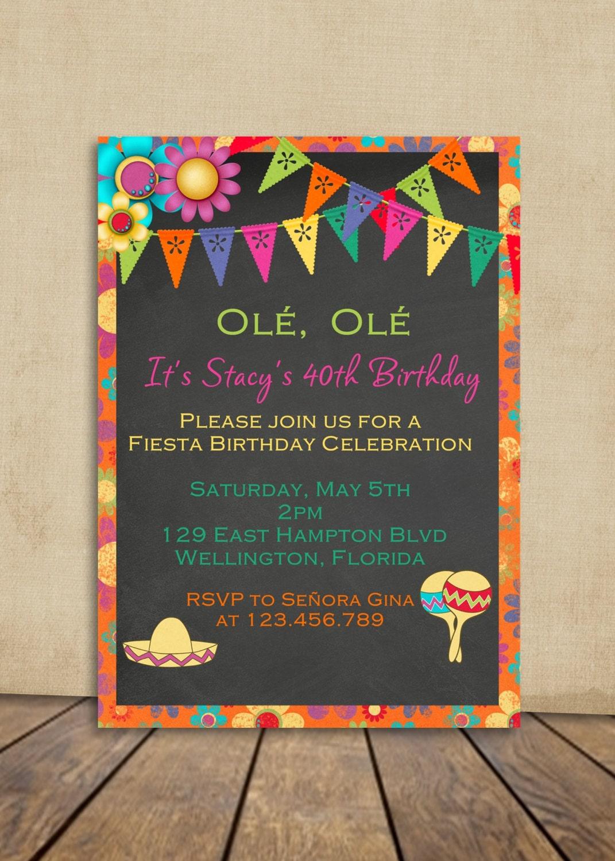 Fiesta Birthday Invitation Mexican Fiesta Party Invite