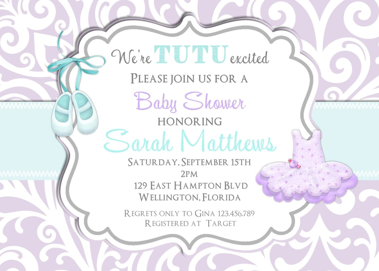 tutu cute baby shower invitation ballerina bkue and lavender