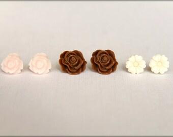 Flower Earring Studs Trio: Palest Pink Rose, Chocolate Brown Scrunch Rose, Ivory Flower