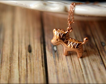 Toy Horse Necklace, Available in Gold and Rose Gold