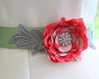 Wedding Sash -- Leaf Green Wedding Dress Sash with Pink and Coral Flower
