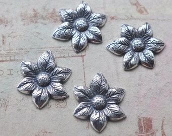 FOUR Daisies Brass Stampings,  Sterling Silver Finish