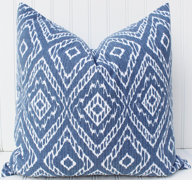 Navy Indigo Blue Pillow Cover Blue Cushion Geometric Pillows