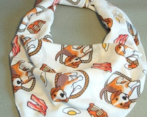 SALE Cute Beagle & Pancake Scarf printed on premium chiffon fabric. Size 100 x 100 cm (limited time only)