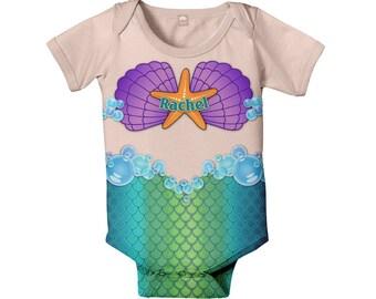 Mermaid Baby Bodysuit, Personalized Girl's Baby Mermaid One-Piece, Any Skintone, Mermaid Outfit, Baby Mermaid Costume, Infant Mermaid Shirt
