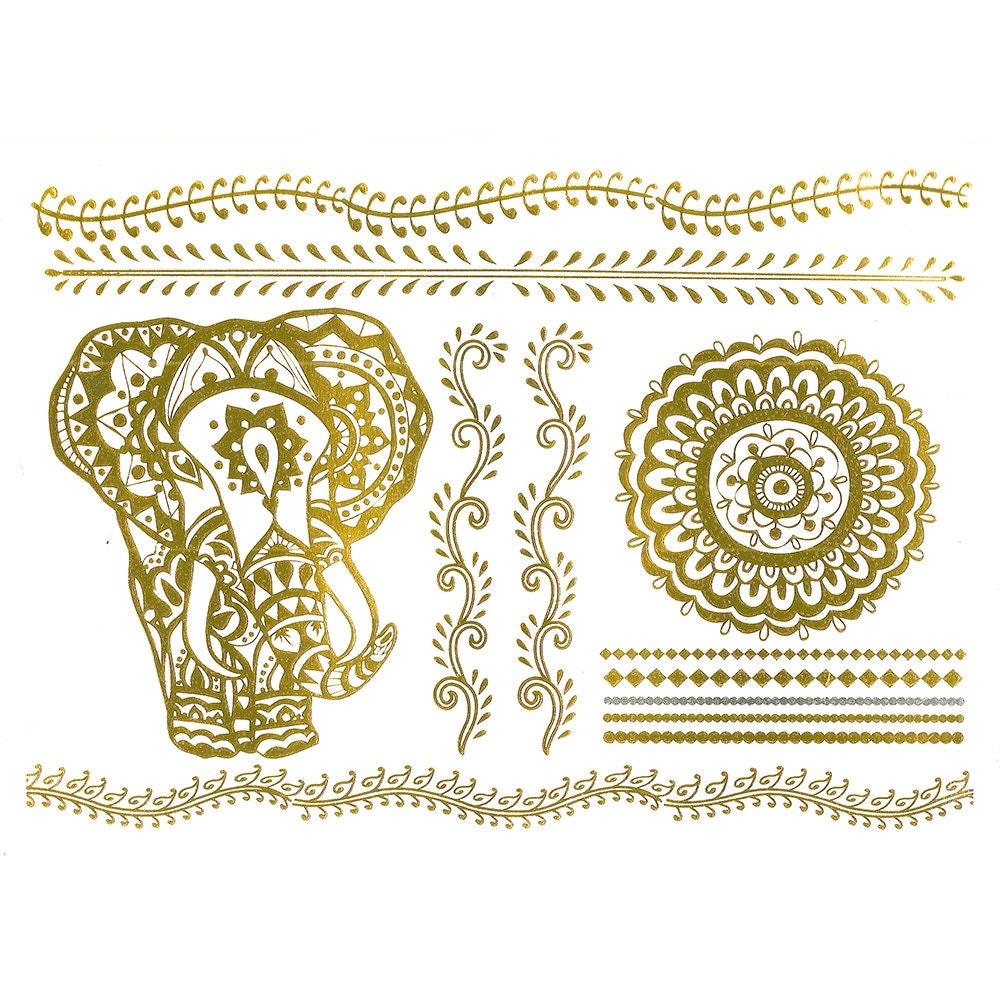 Henna Tattoo Gold : Metallic tattoo henna inspired gold temporary