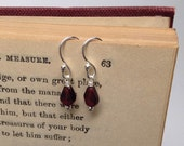 Genuine Garnet Teardrop Earrings, Tiny Sterling Silver Accents,Wire Wrap, Sterling Earrings, Gift Wrapped For Free