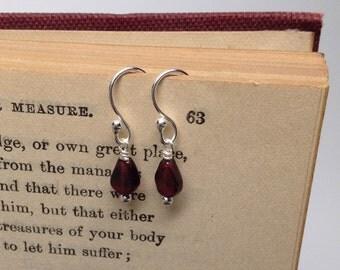 SALE - Genuine Garnet Teardrop Earrings, Tiny Sterling Silver Accents,Wire Wrap, Sterling Earrings, Gift Wrapped For Free