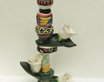ceramic art totem; ceramic sculpture; art pottery; home decor; ceramic flower