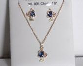 Whitaker's Black Hills Gold Large Oval Pendant & Earring Set with Celyon Blue Sapphire / September Birthstone / SALE / Reg Price 2,090.00