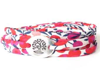 Liberty fabric bracelet for women with TierraCast bird in a tree link in fuchsia, red and white, confirmation gift for girls, sympathy gift