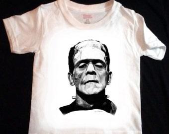 Frankenstein's Monster Toddler / Youth T Shirt - LARGE print - Original Graphite Portrait