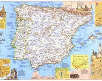 Vintage Map Spain and Portugal 1984