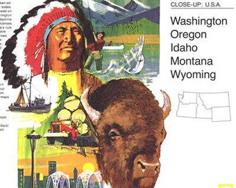 Map The 1973 Washington, Oregon, Idaho, Montana, Wyoming vintage