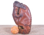 Vintage Leather Baseball Glove / Rawlings Trapper Claw Glove / Old Baseball Glove Leather Glove / Unique Mens Gift Antique Mitt